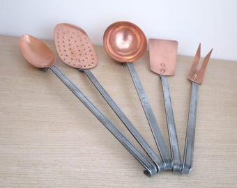 Complete Chef's Set Vintage French Copper 5 Cooking Utensils - Lovely Condition - Beauty and Utility for your Kitchen
