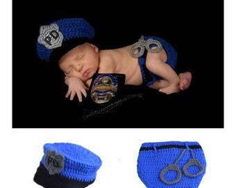 newborn photo prop baby POLICEMAN COP Crochet Knitting Costume Set