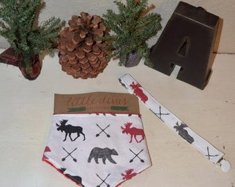 Custom made woodland Baby boy bib and pacifier holder gift set