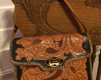 Vintage Mexican Two Tone Leather Tooled Handbag with strap...