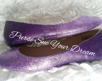 Lavender Ombre Fade To Amethyst Purple Glitter Bridal Ballet Flat Shoes