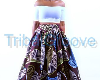 EBONY -  African Ankara Wax Print Maxi Skirt With Head Tie Option