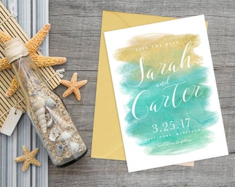 Mint and Gold Watercolor Save the Date Printable Design, Mint to Be Wedding, Modern Watercolor Wedding Invitation