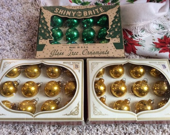 Mini Shiny Brites with Boxes Gold and Green 1 Inch
