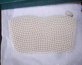 Seed Pearl Evening or Bridal Clutch Needs New Zipper but Nice