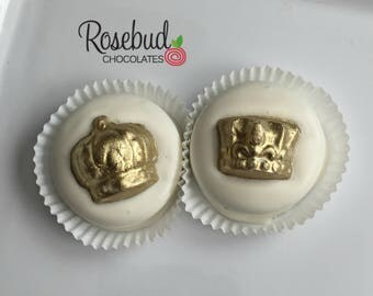 Chocolate Crown Oreo Cookie Favors Royal Baby Shower Birthday Party Gold Dusted King Queeen Princess