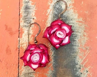 Pink and White Mini Rose Dangle Earrings