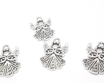 9PC. Angel charm//Antique Silver tone plated 20MM X 14MM Angel charm//9pc. Silk Wrist Wrap Ribbon Bracelet Charms// 9PC. Angel Charms