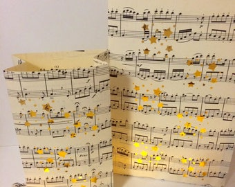 Vintage Sheet Music Luminaries, Great for Weddings & Parties, Music Decorations, Luminary Bags, Luminarias, Luminaries, Music Decor