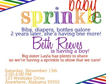rainbow Baby Sprinkle/Shower Invitation/Invite.  Modern stripes.  red, Blue, Green, purple, orange Custom any color.