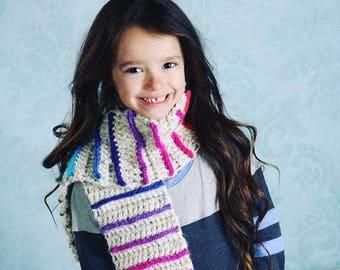 Pom Pom Scarf, Rainbow Scarf, Cowl Scarf, Cowl, Winter Scarf, Crochet Scarf Pattern, Fashion Scarf, Infinity Scarf, Crochet Scarf PDF