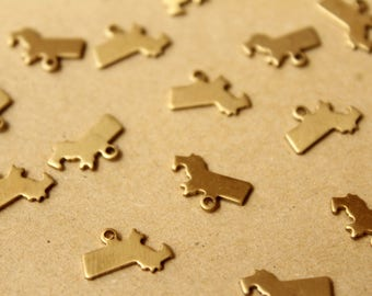 8 pc. Raw Brass Massachusetts State Charms / Blanks: 12mm by 8.5mm - made in USA | RB-1045