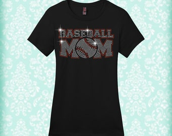 Rhinestone Baseball Mom Shirt
