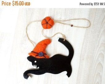 BLACK FRIDAY SALE Halloween black cat doll handmade hanging ornament felt black orange hat home decor pumpkin art figurine hand sculptured w