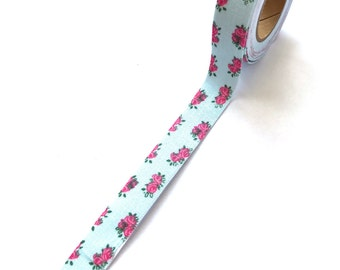 Fabric Tape Blue / Pink Flowers