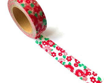 Washi Tape Red / Pink Flowers