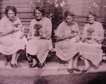 Antique Photo - Four Ladies Holding Food at Picnic