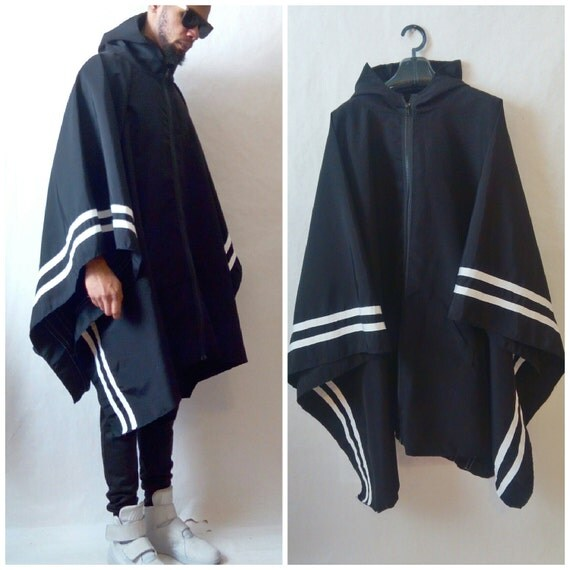 Poncho Resisent  Activewear Poncho With Border Stripes inspired by Y3 ,Yeezy, adidas, Helmut Lang  with pocket justin bieber