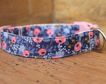 Spring Dog Collar - Navy Floral - Rifle Paper Co