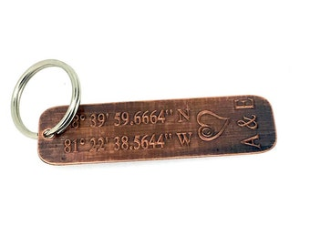 Coordinate Keychain - Antique Copper Personalized - Engraved - 10 Year Anniversary - Boyfriend Gift - Husband Gift, man gift,