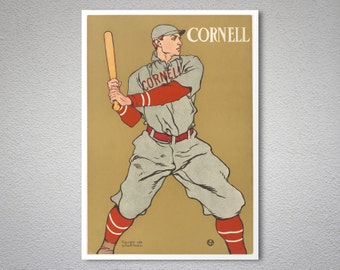 Cornell Baseball  by Edward Penfield - Poster Paper, Sticker or Canvas Print