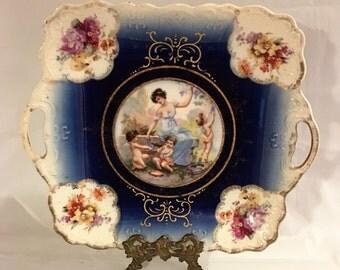 REDUCED Antique, 1895, Cake Plate, Moschendorf, PM, Bavaria, Wedding Platter, Cobalt Blue, Goddess, Cherubs, Floral,  [E]