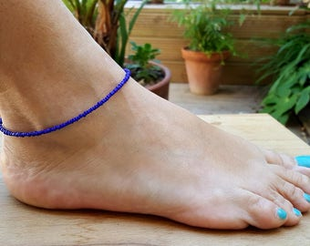 cobalt blue anklet beach surfing lapis deep ocean summer vacation wear seed bead