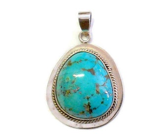 Large Sterling Silver Turquoise Pendant Taxco Mexico