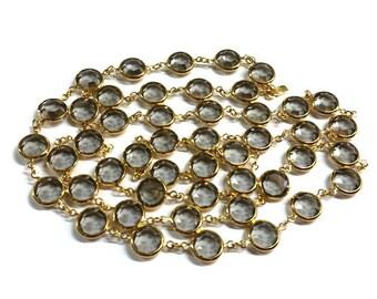 "Signed Swarovski Gold Smokey Grey Crystal Necklace 36"""