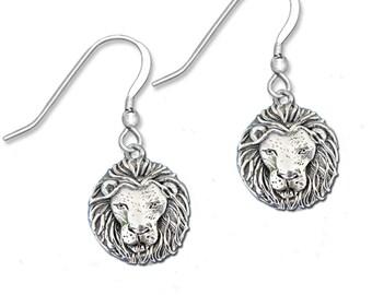 Sterling Silver Lion  Earrings