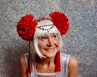 Red pom pom flower fascinator headdress - fairylove