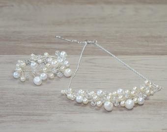 Bracelet and necklace bridal pearl crystal set silver Jewelry sets Bridal jewellery Wedding accessories  Swarovski Pearl Bracelet Necklace