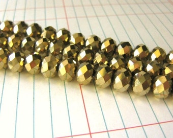 10x8mm Faceted Rondelle Gold Crystal Glass Beads Metallic
