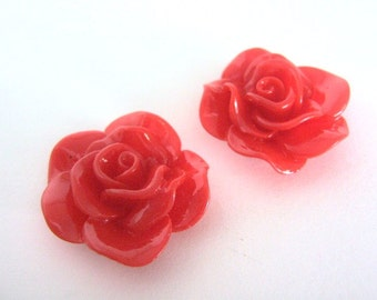 Red 30mm Rose Flower Cabochon Resin Cab Kawaii 6pcs
