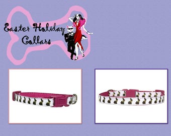 Easter Bunny 3/8 Teacup Dog Collars Raspberry Pink Holiday Dog Collar