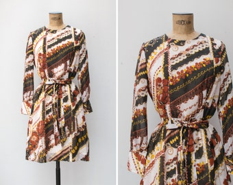 1970s Dress - Vintage 70s Psychedelic Floral Print Cotton Dress White Brown Mustard Dress - Incense and Peppermints Dress
