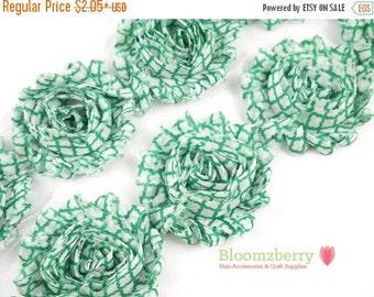 "Closed Out Sale 40% OFF 2.5"" Printed Shabby Rose Trim- Green Quatrefoil- Frayed- Quatrefoil Shabby Trim- Printed Shabby Trim -Hair Accessori"