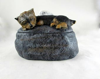 Ceramic Engraved Yorkie Painted Cremation Urn - hand made pet urn