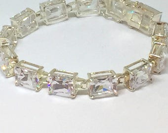Faceted CRYSTAL TENNIS BRACELET - Sterling Silver - Link Design - Faceted Emerald Cut Stones - Double Safety Clasp - Sparkling Stones