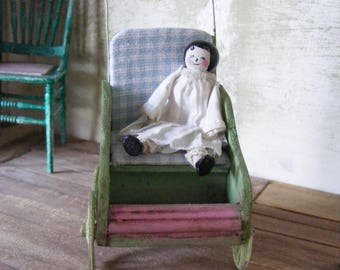 Dolls house child's doll pram