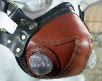 Steampunk altitude mask, aviator mask, tan leather, respirator mask
