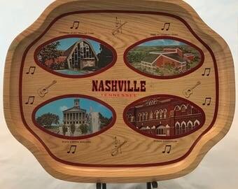 Plateau en métal Souvenir Nashville - années 1960 - Excellent État