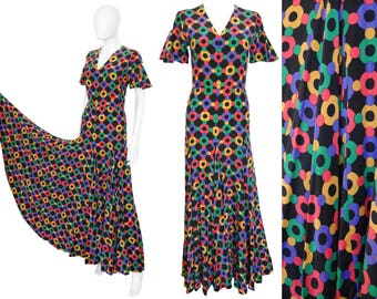 Heinz Riva 1970s Vintage Maxi Silk Dress 100% Silk Graphic Floral Print US Size 2-4 XXS-XS