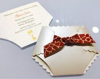 Set of 10 Cute Baby Giraffe Diaper Baby Shower Invitations, Giraffe Ribbon and Baby Giraffe Shower Invite