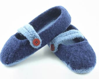 Womens MADE TO ORDER felted wool Mary Jane slippers