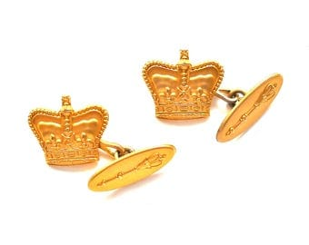 Birks  Vintage Gold Filled Crown & Scepter Cuff Links.  Marked Birks G F .  Gift Quality