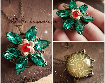 NEW VERSION Anastasia Together In Paris Necklace - Anastasia cosplay - Once Upon a Dicember - Romanov - flower - Bronze - Light Emerald