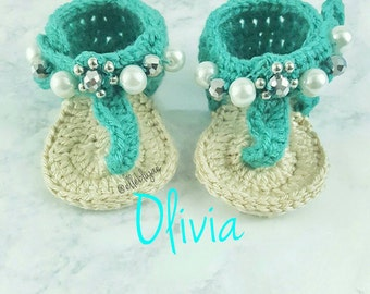 Olivia crocheted baby shoes, baby sandals, t-strap, baby booties, embroidery, baby shower,  gift ideas, new mom,  3-6 months, gifts for baby
