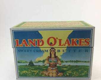 Land o lakes recipe box full of recipes butter collectable native american woman dairy  history collection
