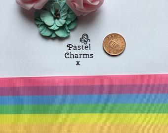 Large pastel rainbow ribbon x  2 yards 50mm wide x